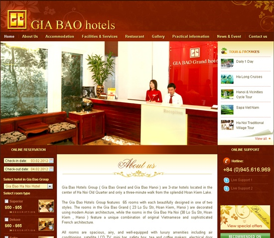 Thiết kế website Gia Bao Hotels - bicweb.vn